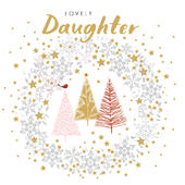 Lovely Daughter Robin & Trees Christmas Card