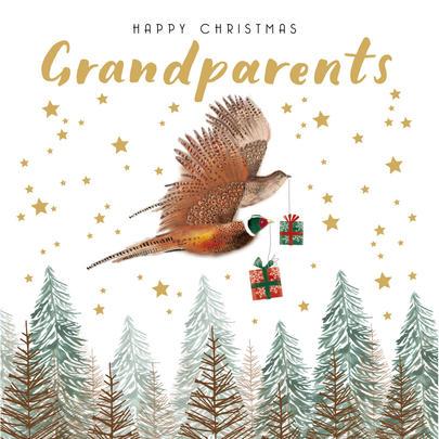 Grandparents Festive Pheasants Christmas Card