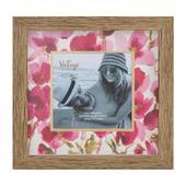 Vintage Boutique Pink Flower Pattern Wood Effect Photo Frame