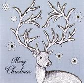Box of 6 Gold Reindeer Luxury Hand-Finished Christmas Cards
