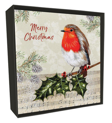 Box of 6 Festive Robin Luxury Hand-Finished Christmas Cards