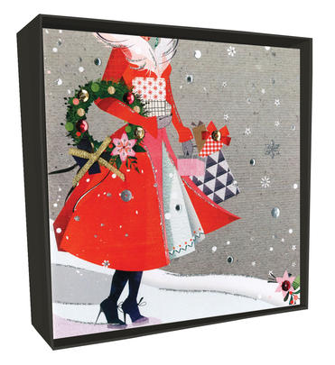 Box of 6 Christmas Shopping Luxury Hand-Finished Christmas Cards