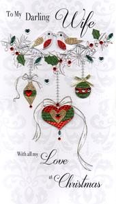 Boxed Darling Wife Luxury Lavish Keepsake Christmas Card