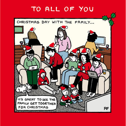 Christmas Day With The Family Off The Leash Cartoon Dog Humour Christmas Card