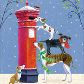 Pack of 5 Dogs Posting Xmas Cards Childline Charity Christmas Cards