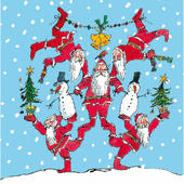 Pack of 5 Quentin Blake Festive Santa Tree Childline Charity Christmas Cards