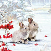 Pack of 5 Festive Bunny Friends Childline Charity Christmas Cards
