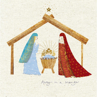 Pack of 5 Away In A Manger Childline Charity Christmas Cards