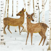Pack of 5 Woodland Deers Childline Charity Christmas Cards