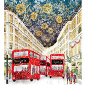 Pack of 5 Gold Foiled Christmas Shopping Marie Curie Charity Christmas Cards