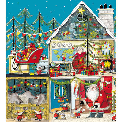 Pack of 5 Gold Foiled Santa's Workshop Marie Curie Charity Christmas Cards