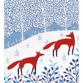 Pack of 5 Glittered Winter Foxes Marie Curie Charity Christmas Cards