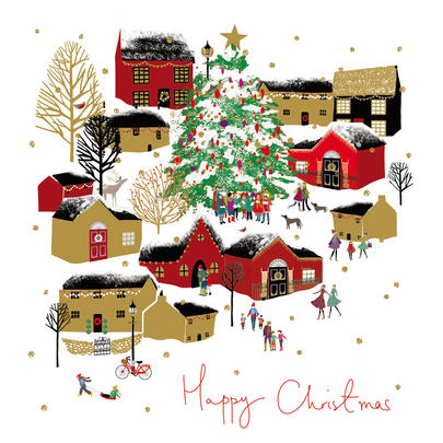Pack of 5 Gold Foiled Winter Village Marie Curie Charity Christmas Cards
