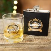 Brewmaster Worlds Greatest Drinker Glass & Hip Flask