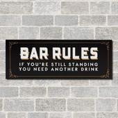 Brewmaster Hanging Bar Rules Sign 'Still Standing' Plaque