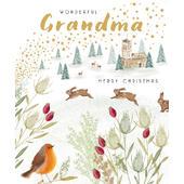Wonderful Grandma Gold Glittered Christmas Card
