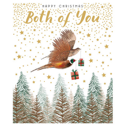 Both Of You Gold Glittered Christmas Card