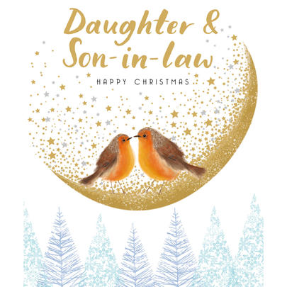Daughter & Son-In-Law Gold Glittered Christmas Card