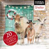 Box of 20 Sheep & Cows Shelter Fairdeal Charity Christmas Cards
