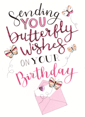 Happy Birthday Sending Butterfly Wishes Greeting Card
