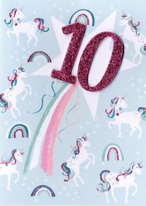 Girls 10th Birthday Unicorn Greeting Card