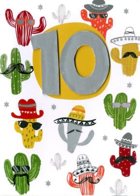 Boys 10th Birthday Cactus Greeting Card