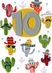 Boys 10th Birthday Cactus Greeting Card