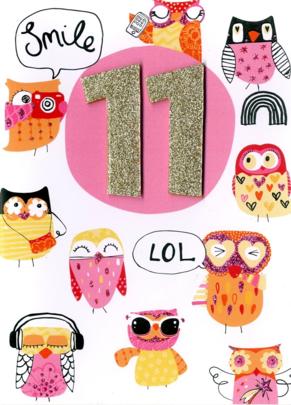 Girls 11th Birthday Owls Greeting Card