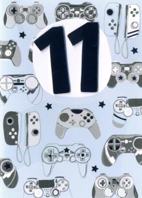 Boys 11th Birthday Gaming Consoles Greeting Card