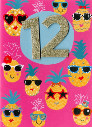 Girls 12th Birthday Pineapples Greeting Card