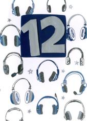 Boys 12th Birthday Headphones Greeting Card