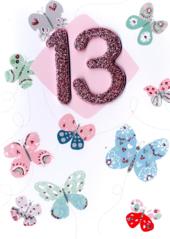 Girls 13th Birthday Butterflies Greeting Card