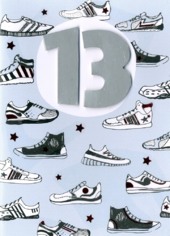 Boys 13th Birthday Trainers Greeting Card