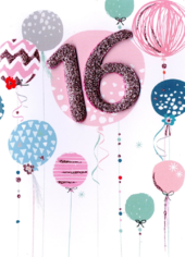 Girls 16th Birthday Balloons Greeting Card