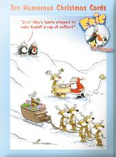Box of 10 Funny Eric The Penguin Christmas Cards In 2 Designs