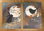 Box of 12 Moonlit Hare & Robin Contemporary Foiled Christmas Cards