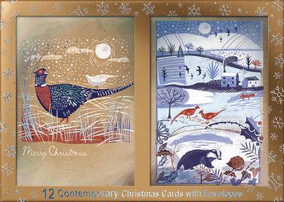 Box of 12 Birds & Winter Scene Contemporary Foiled Christmas Cards