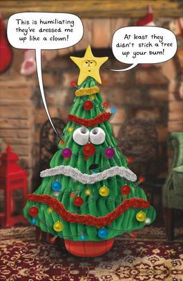 Christmas Tree Dressed Up Like A Clown Funny Christmas Card