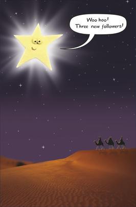 Bright Star Three New Followers Funny Christmas Card