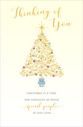 Thinking Of You Tree Traditional Christmas Greeting Card