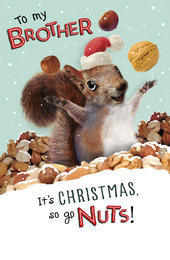 To My Brother Go Nuts Funny Christmas Greeting Card