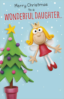 To A Wonderful Daughter Funny Christmas Greeting Card