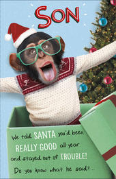 Son We Told Santa Funny Christmas Greeting Card