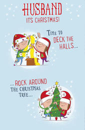 Husband Time To Deck The Halls Funny Christmas Greeting Card