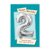 Happy 2nd Birthday Card With Metallic Age Balloon Inside & Straw To Inflate