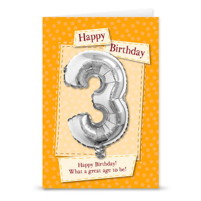 Happy 3rd Birthday Card With Metallic Age Balloon Inside & Straw To Inflate