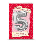 Happy 5th Birthday Card With Metallic Age Balloon Inside & Straw To Inflate