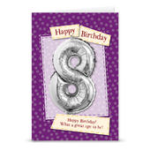 Happy 8th Birthday Card With Metallic Age Balloon Inside & Straw To Inflate