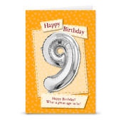 Happy 9th Birthday Card With Metallic Age Balloon Inside & Straw To Inflate