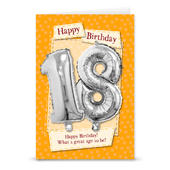Happy 18th Birthday Card With Metallic Age Balloon Inside & Straw To Inflate